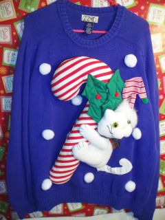 UGLY CHRISTMAS SWEATER MENS 2240 PARTY WINNER CATS CANDY CANES SNOW L
