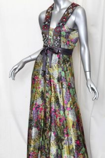 Matthew Williamson Beaded Embroidered Silk Long Floral Maxi Dress New