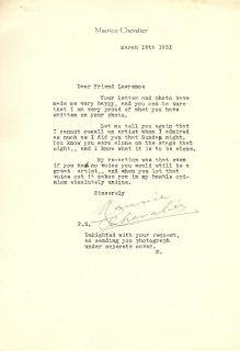 Maurice Chevalier Signed Letter BN4016