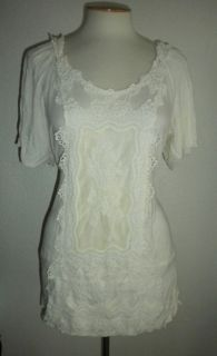 Maurices Studio Y MS Size x Large Ivory Cream Lace Front Fashion Top