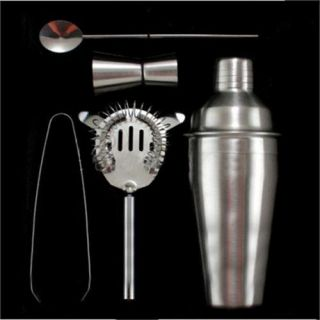 Set 5 Stainless Steel Cocktail Martini Drink Mixing Bars Shaker