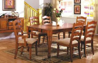 Mayfair French Country Oak Dining Table Set Ladder Back