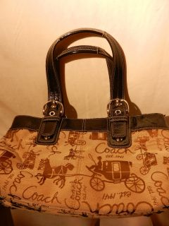 Coach Purse Beige Brown with Black Leather Trim Genuine Coach