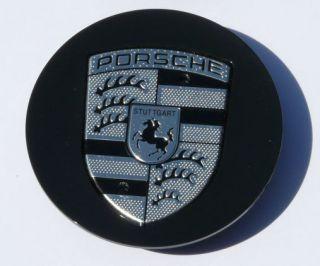Porsche Wheel Center Caps Black Chrome and Black Crest