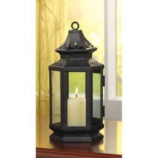 Black Metal Western Style Stagecoach Lantern Candle Home Decor Lantern