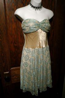 New Gold Aqua Green Von Maur Lace Strapless Dress 6