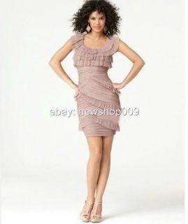 348 BCBG Max Azria Briana Short Pleated Dress Color Sepia
