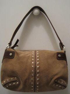 Michael Kors Brn Suede Studded Handbag