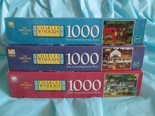 of 3 Charles Wysocki 1000 Piece MB Jigsaw Puzzles Pcs XLNT Cond