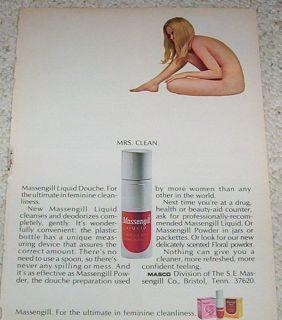 1969 Ad Massengill Douche Nude Girl Feminine Hygiene Ad