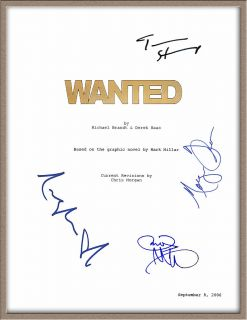 James McAvoy Angelina Jolie Morgan Freeman Signed x4 Wanted Movie