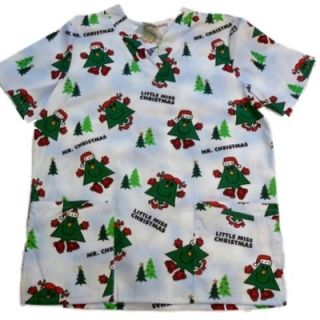 Little Miss Christmas Smock Medical Scrubs Top Nurse Holiday