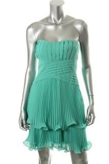 Max And Cleo NEW Samatha Green Tiered Pleated Strapless Cocktail Dress