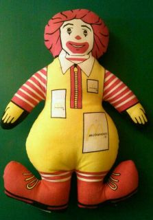 McDonalds Ronald McDonald Vintage Collectable Plush Doll Figure