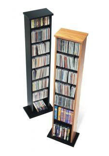 Oak SLIM Media Storage Tower Cabinet DVD CD Adjustable Shelves PP