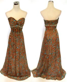 Morrell Maxie $420 Brown Multi Wedding Prom Gown 8