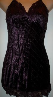 Meghan Noland Purple Crushed Velvet Sequin Lace Baby Doll Cami Tank