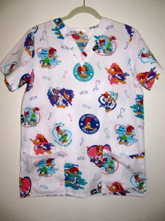 Woody Woodpecker Medical Scrubs Gown Shirt Doctors Nurses
