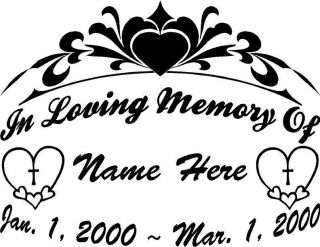 of Heart Cross 11 Large Decal Window Memorial Car Sticker