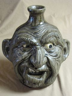 Melvin s Crocker Face Jug Southern Folk Pottery Rock Teeth