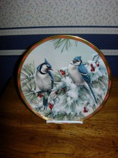 Winter Song Plate Blue Jays Catherine McClung USA 2 Avail