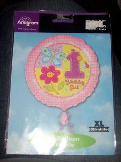 Girls Butterfly Flower 1st Birthday Party Balloon 18 inch 1st Birthday
