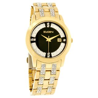 Elgin Quartz Mens Black Dial Gold Tone Crystal Bracelet Dress Watch
