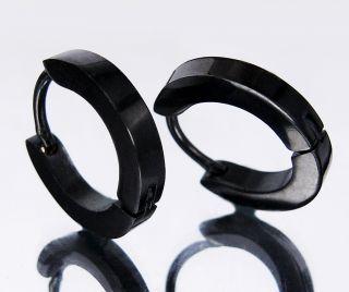 Polished Black Stainless Steel Slim 3mm Hoop Earrings