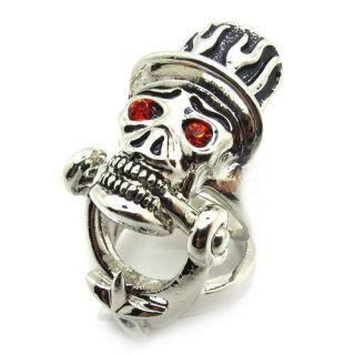 Mens Gothic Skull Red Shine Eyes Magician Full Finger Ring Stainless
