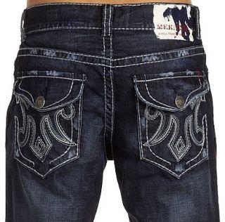 MEK Denim Mens Oaxaca Jeans Saddle Stitch Boot 33 x 34
