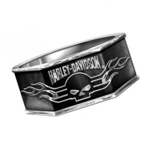 Harley Davidson Mens Silver Skull Ring New