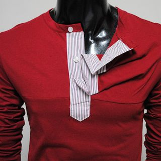 BBT THELEES Mens Stripe Patched Shirring Tshirts Red