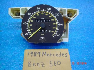 1989 Mercedes Benz 560 SEL Speedometer 137 114 miles V8 Other Model s
