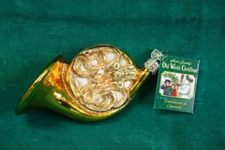 Merck Family Old World Christmas FRENCH HORN Ornament with OWC heart