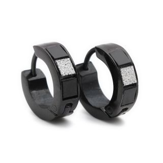 Stainless Steel Stud Hoop Mens Black Matte Earrings E182