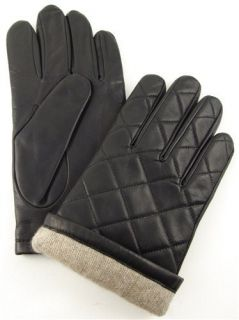 Black Genuine Leather Cashmere Mens Designer Winter Gloves L