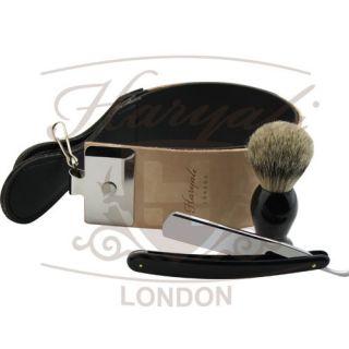 Men Shaving Extra Wide Leather Strop Razor and Brush Black Badger Hair
