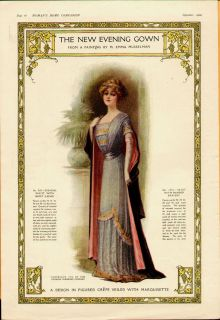 1910 Ladies Fashion The New Evening Gown Pattern Musselman Art Color