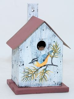 Bird House Metal Roof Painted Nuthatch Nest Box