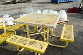 Lot of 2 Square Picnic Tables Plastic Coated Metal