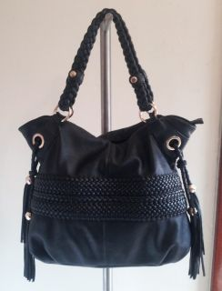 Melie Bianco Bella Black Braided Large Shoulder Hobo Bag Purse Mint