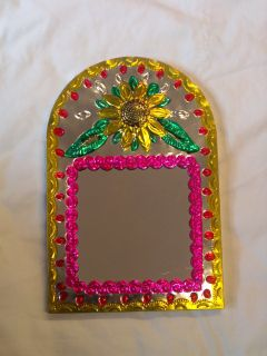 Mexican Folk Art Punched Tin Arched Mirror w Flowers