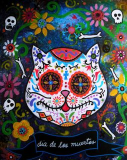 Print Art Mexican Folk Art Day of The Dead Kitty Cat Sugar Skull
