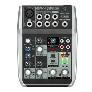 Behringer XENYX Q502USB 5 Input 2 Bus Powered Mixer & USB Audio
