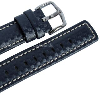 Hirsch CARBON FIBER Blue Leather Water Resistant Mens Watch Band Strap