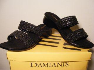New Damianis Annabell Slip on Black Wedge Sandals 7 5