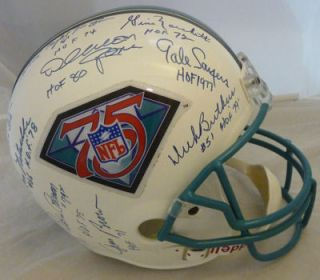 Helmet w Nitschke Merlin Olsen Night Train 6 JSA LOA