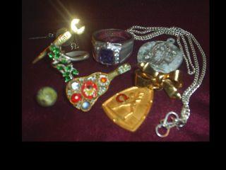 Vintage Chain 50s Sterling Rhinestone Mosaic Opal Estate Junk Drawer