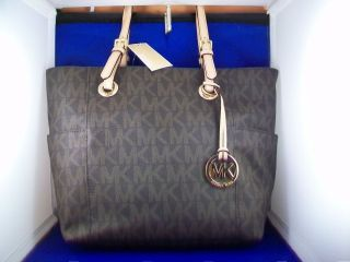 Michael Michael Kors Jet Set E w Signature Tote Bag Brown