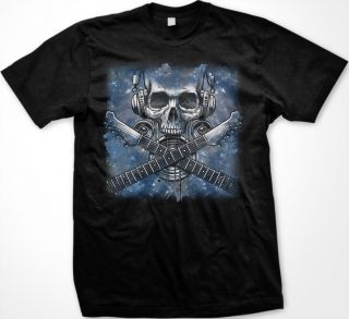 Electronic Skull Mens T Shirts Electric Guitar Headphones Speakers